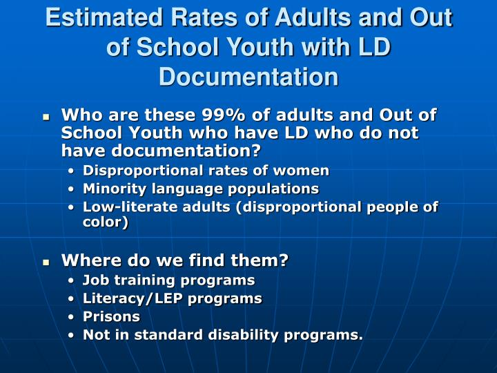 Estimated Rates of Adults and Out of School Youth with LD Documentation