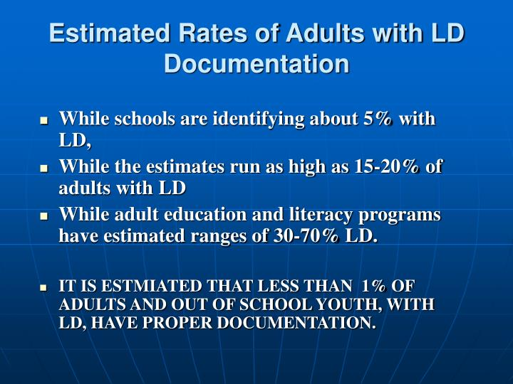 Estimated Rates of Adults with LD Documentation