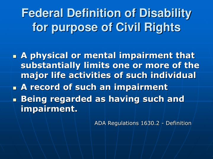Federal Definition of Disability for purpose of Civil Rights