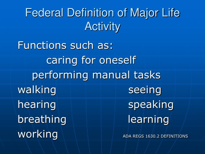 Federal Definition of Major Life Activity