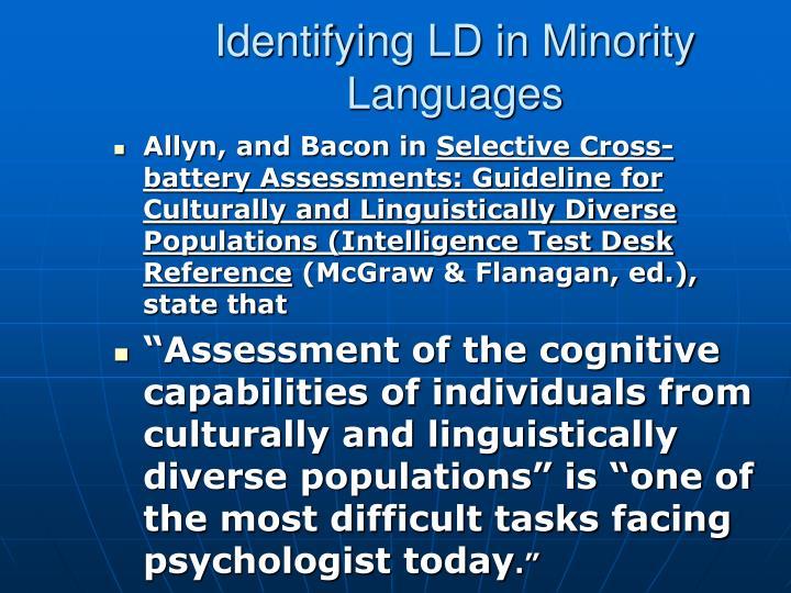 Identifying LD in Minority Languages