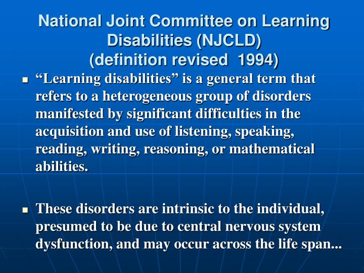 National Joint Committee on Learning Disabilities (NJCLD)