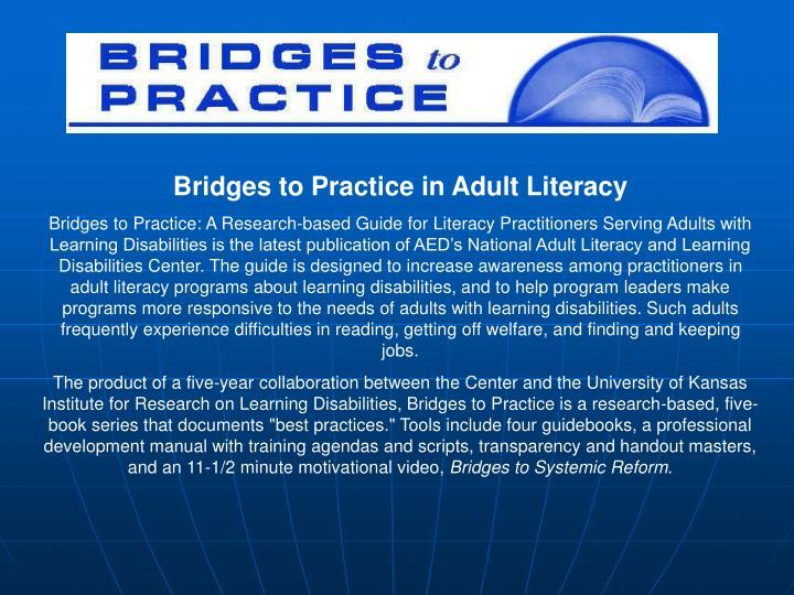 Bridges to Practice in Adult Literacy