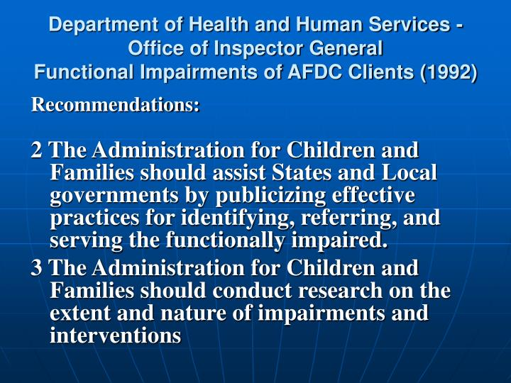 Department of Health and Human Services - Office of Inspector General