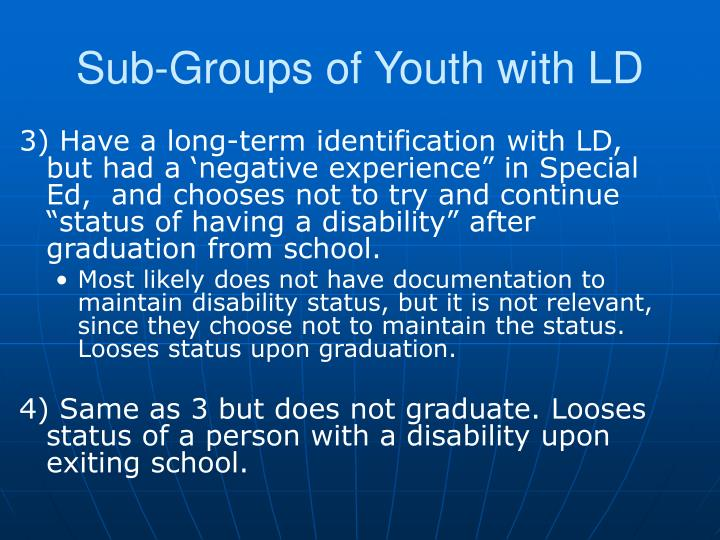 Sub-Groups of Youth with LD