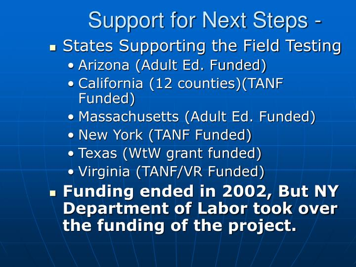 Support for Next Steps -