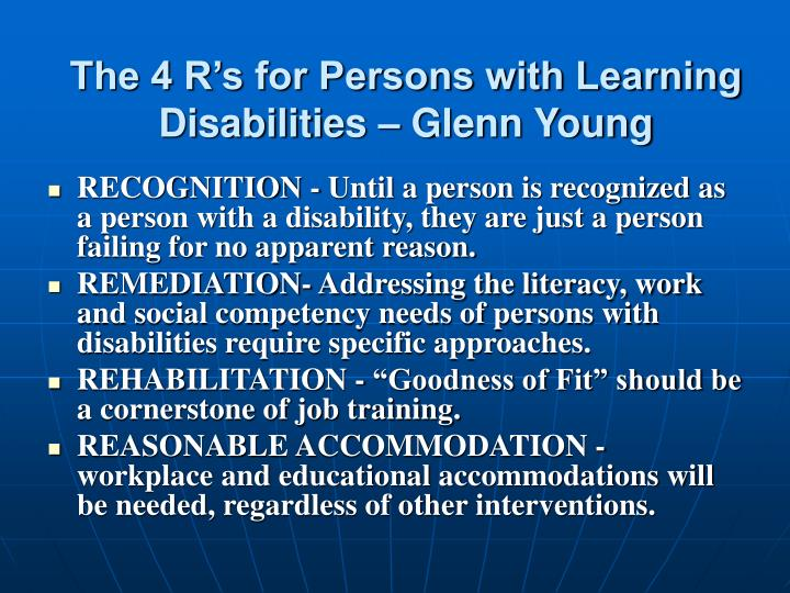 The 4 R's for Persons with Learning Disabilities – Glenn Young