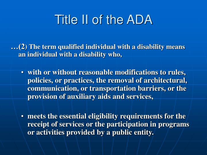 Title II of the ADA