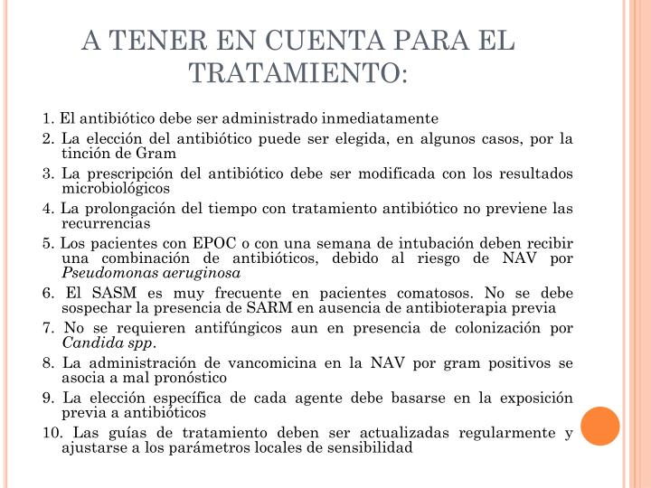 A TENER EN CUENTA PARA EL TRATAMIENTO: