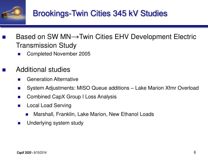 Brookings-Twin Cities 345 kV Studies