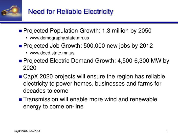 Need for reliable electricity