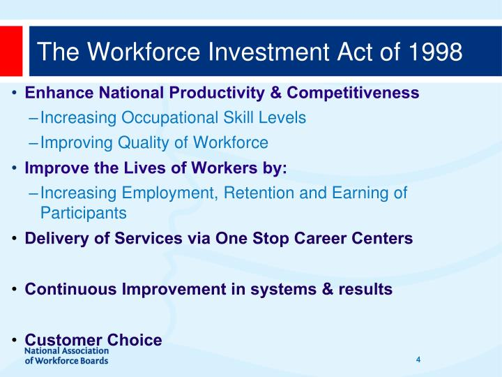 The Workforce Investment Act of 1998
