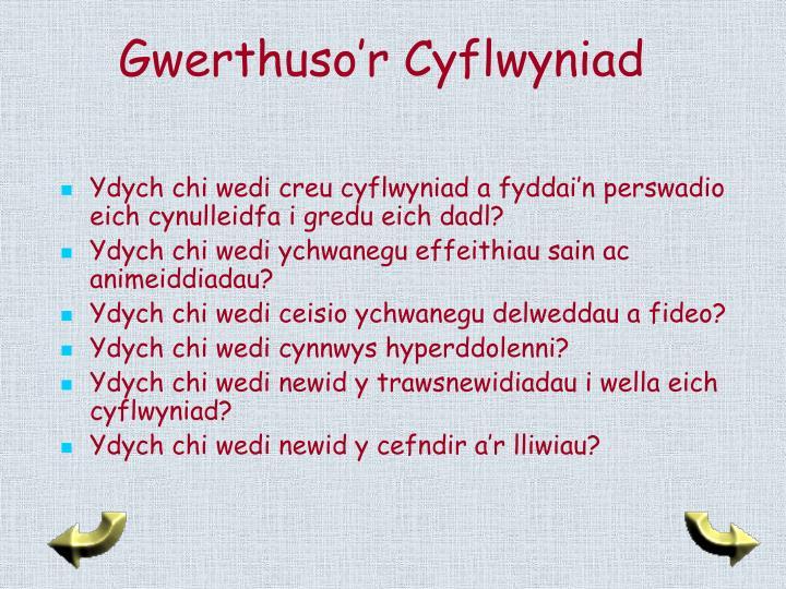 Gwerthuso'r Cyflwyniad