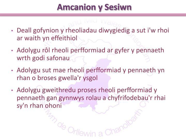 Amcanion y Sesiwn