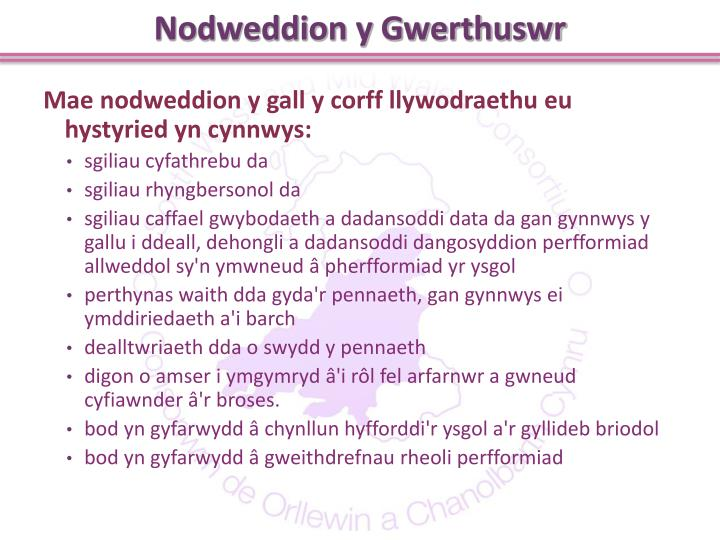 Nodweddion y Gwerthuswr