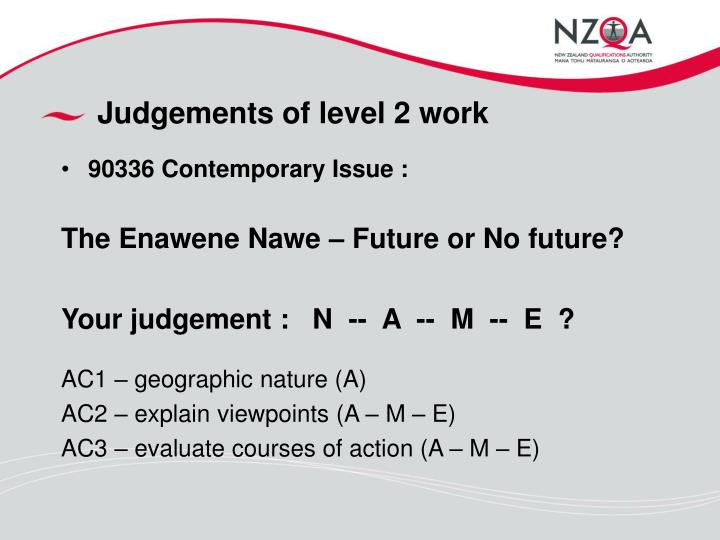Judgements of level 2 work