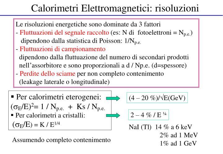 Calorimetri Elettromagnetici: risoluzioni