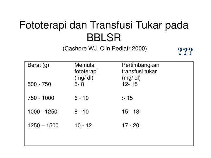 Fototerapi dan Transfusi Tukar pada BBLSR