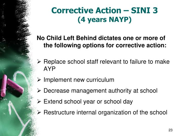 Corrective Action – SINI 3
