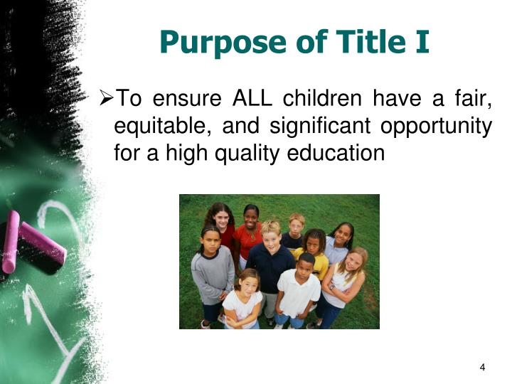 Purpose of Title I