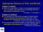 appropriate balance of risk and benefit