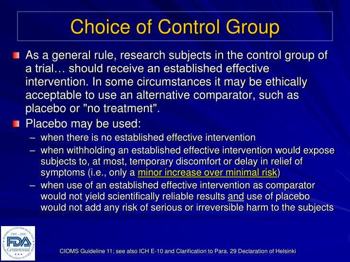 Choice of Control Group
