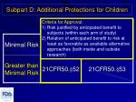 subpart d additional protections for children3