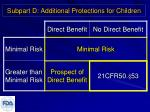 subpart d additional protections for children4