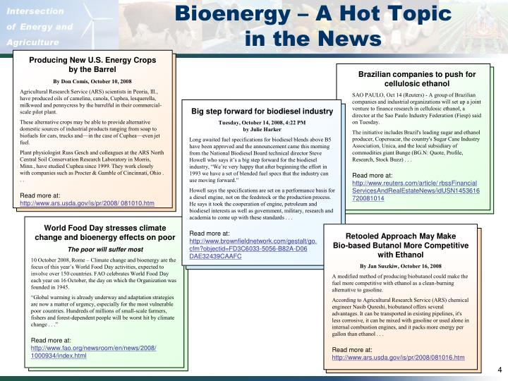 Bioenergy – A Hot Topic