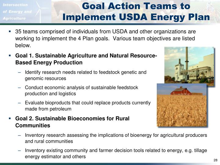Goal Action Teams to Implement USDA Energy Plan