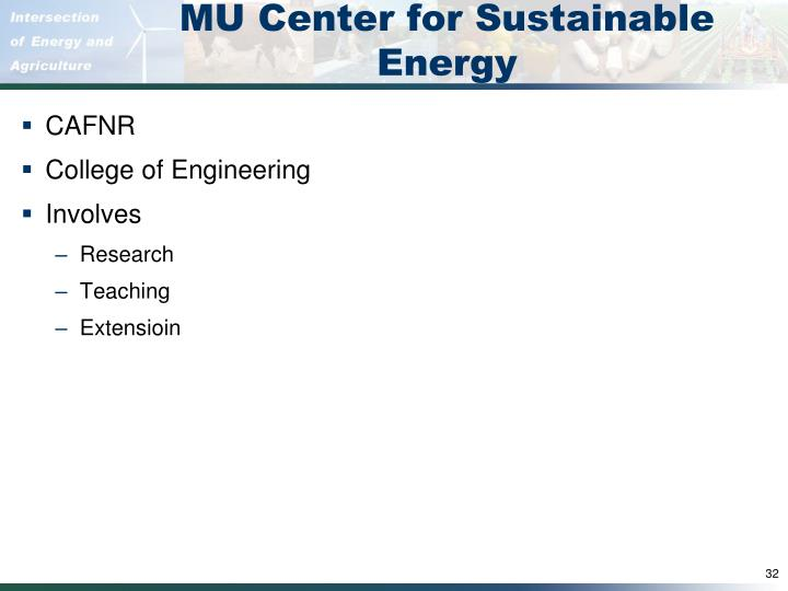 MU Center for Sustainable Energy