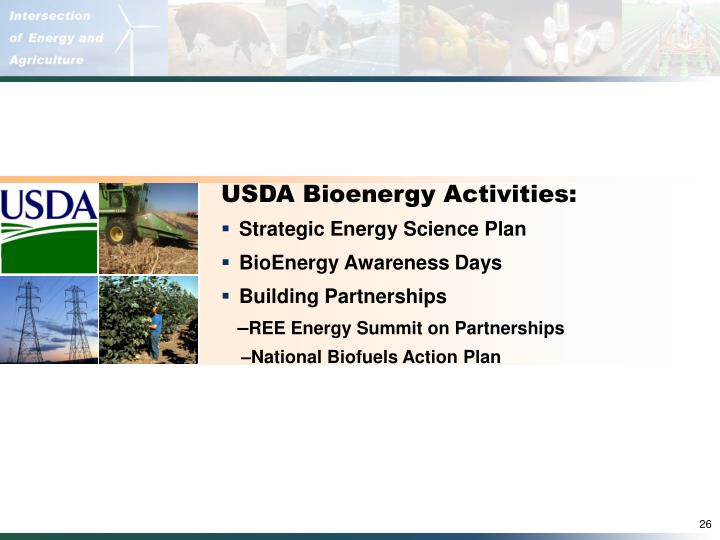 USDA Bioenergy Activities: