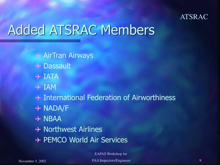 Added ATSRAC Members
