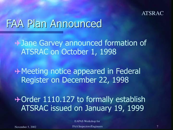 FAA Plan Announced