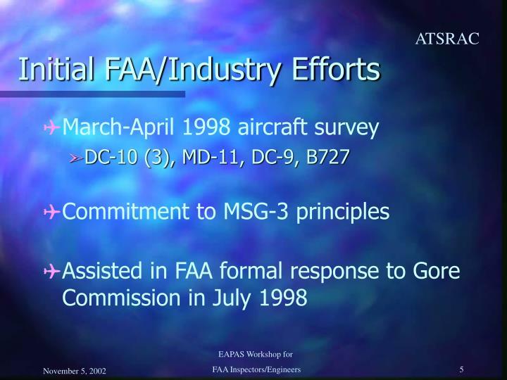 Initial FAA/Industry Efforts