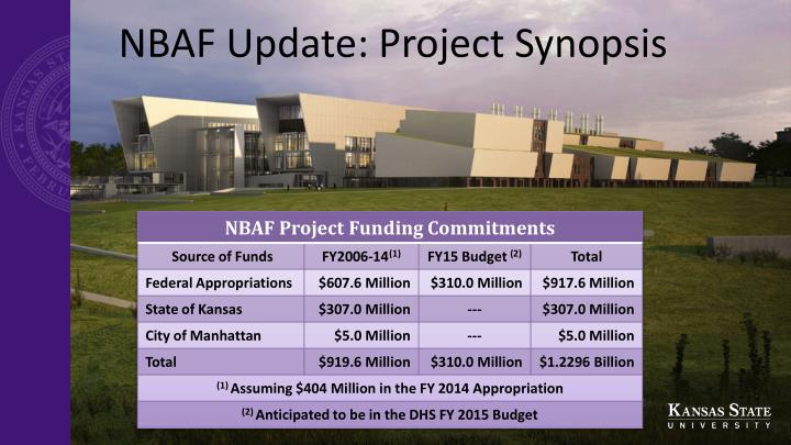 NBAF Update: Project Synopsis