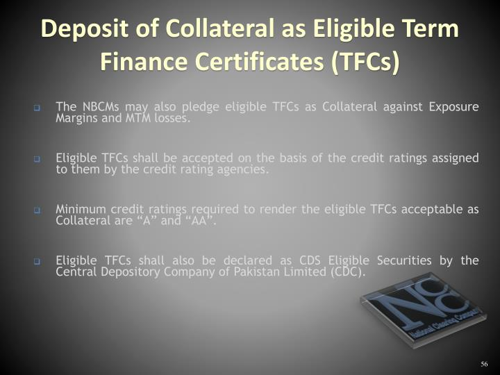 The NBCMs may also pledge eligible TFCs as Collateral against Exposure Margins and MTM losses.