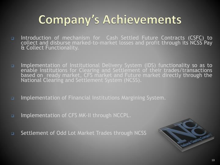 Company's Achievements