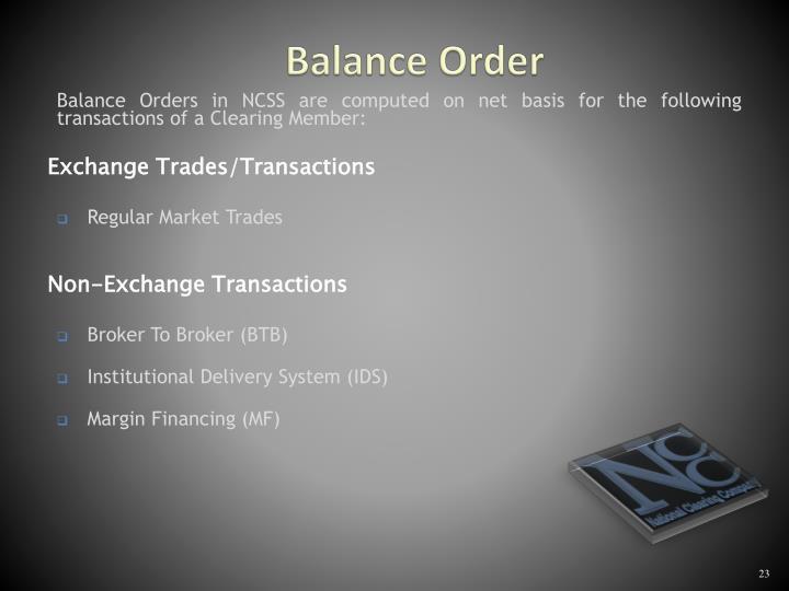 Balance Order