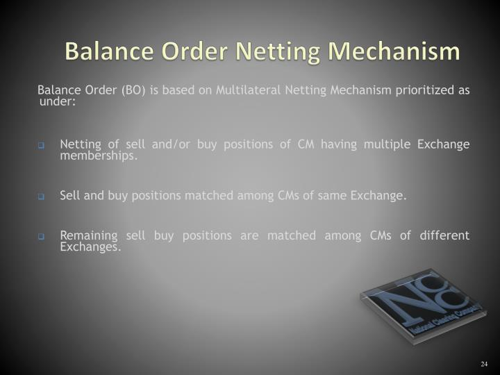 Balance Order Netting Mechanism