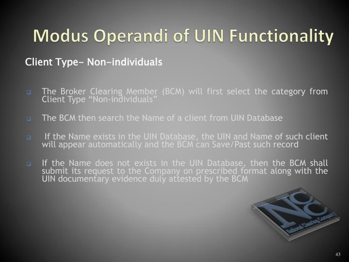 Modus Operandi of UIN Functionality