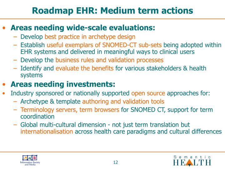 Roadmap EHR: Medium term actions