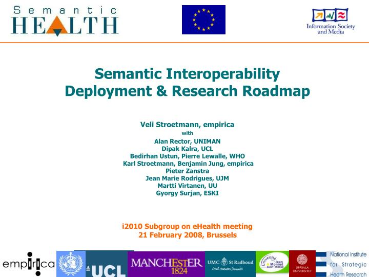 Semantic interoperability deployment research roadmap