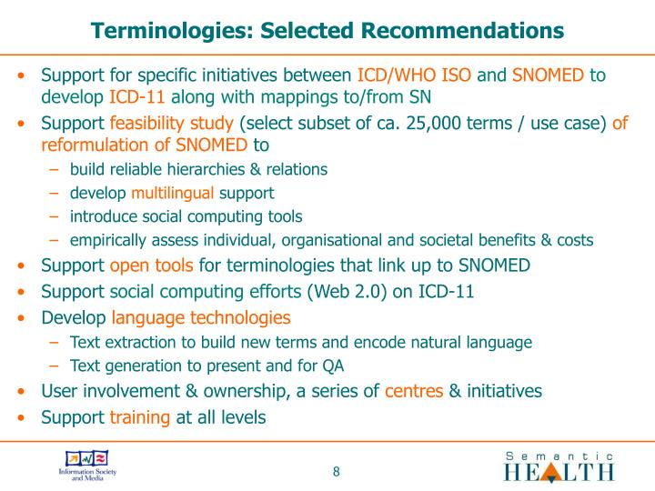 Terminologies: Selected Recommendations