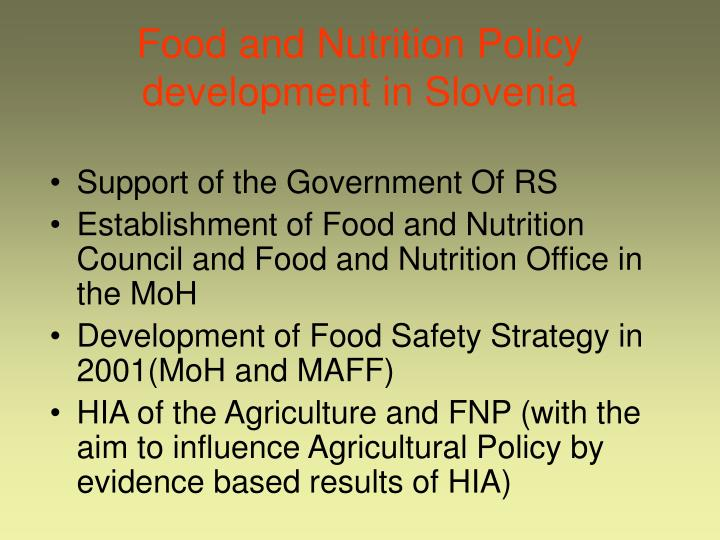 Food and Nutrition Policy development in Slovenia