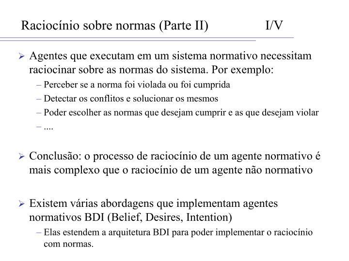 Raciocínio sobre normas (Parte II)I/V