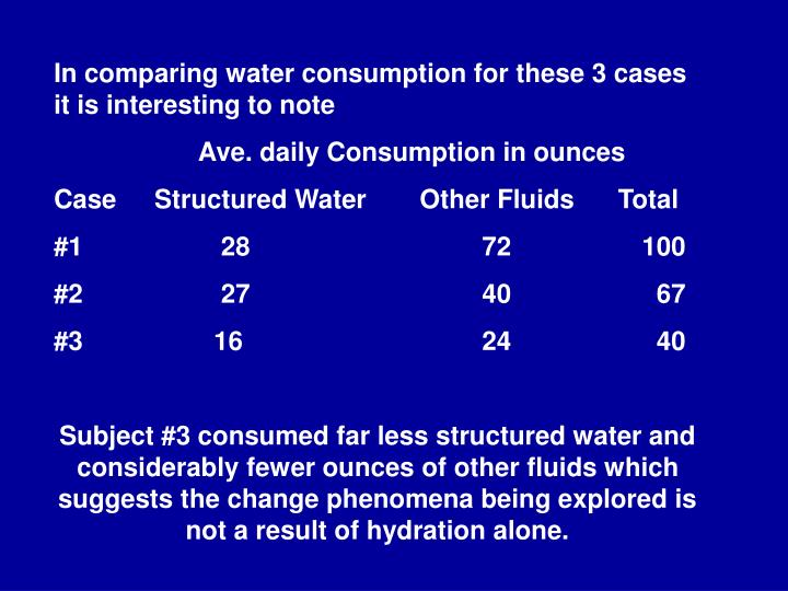 In comparing water consumption for these 3 cases it is interesting to note