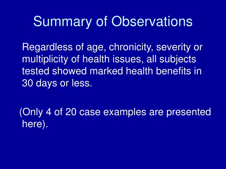 Summary of Observations