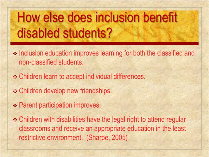 the status quo of full inclusion of children with disabilities in regular classrooms and its drawbac Child development and well-being inclusion in regular classrooms means all students the consequences of maintaining the status quo of systemic and.
