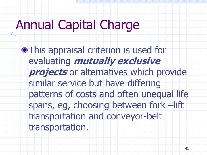 Annual Capital Charge